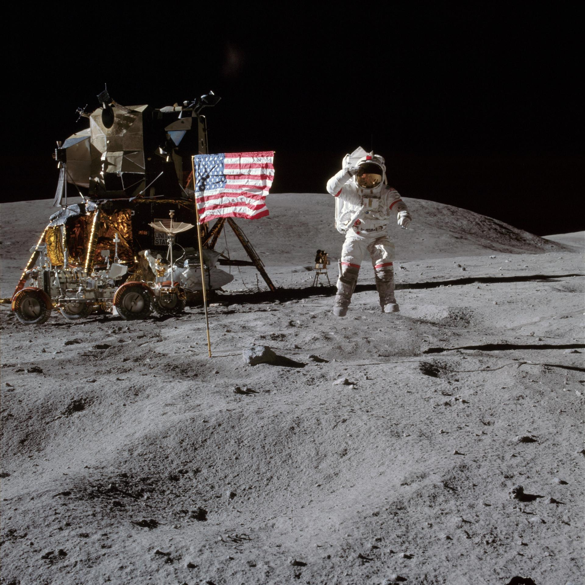 Jumping on the moon and saluting the American flag, Astronaut John Young became one of the few people who have walked on the lunar surface during the Apollo 16 mission in 1972. (Photo NASA)
