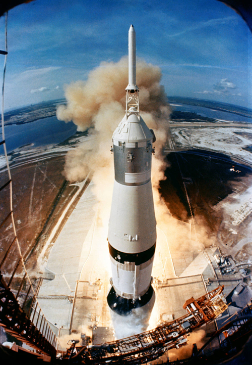 On July 16, 1969, the huge, 363-feet tall Saturn V rocket launches on the Apollo 11 mission from Pad A, Launch Complex 39, Kennedy Space Center, at 9:32 a.m. EDT. (Photo Courtesy: NASA)